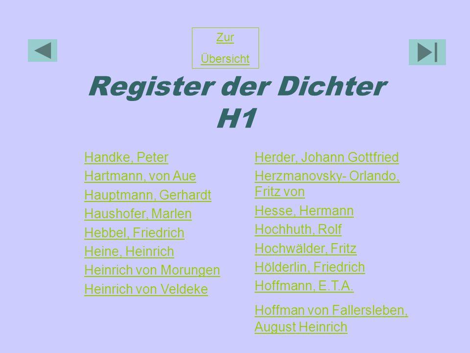 Register der Dichter H1 Zur Übersicht Handke, Peter Hartmann, von Aue Hauptmann, Gerhardt Haushofer, Marlen Hebbel, Friedrich Heine, Heinrich Heinrich