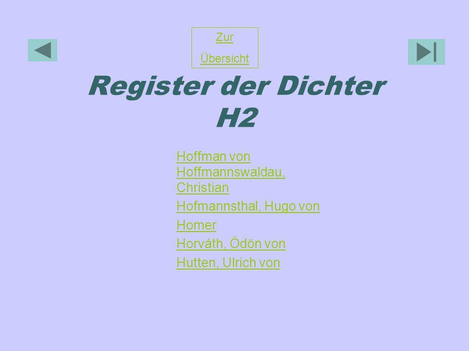 Register der Dichter H2 Zur Übersicht Hoffman von Hoffmannswaldau, Christian Hofmannsthal, Hugo von Homer Horváth, Ödön von Hutten, Ulrich von