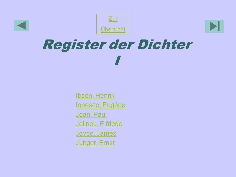 Register der Dichter I Zur Übersicht Ibsen, Henrik Ionesco, Eugéne Jean, Paul Jelinek, Elfriede Joyce, James Jünger, Ernst