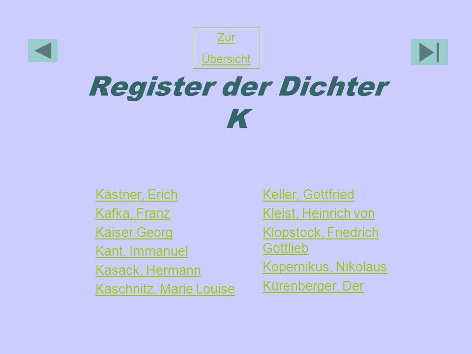 Register der Dichter K Zur Übersicht Kästner, Erich Kafka, Franz Kaiser Georg Kant, Immanuel Kasack, Hermann Kaschnitz, Marie Louise Keller, Gottfried