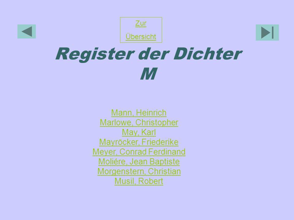 Register der Dichter M Zur Übersicht Mann, Heinrich Marlowe, Christopher May, Karl Mayröcker, Friederike Meyer, Conrad Ferdinand Moliére, Jean Baptist