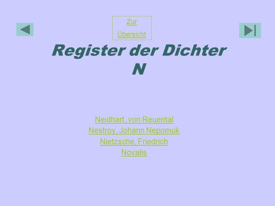 Register der Dichter N Neidhart, von Reuental Nestroy, Johann Nepomuk Nietzsche, Friedrich Novalis Zur Übersicht