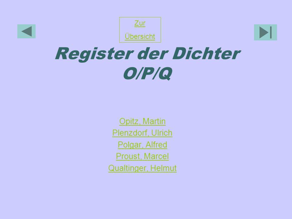 Register der Dichter O/P/Q Opitz, Martin Plenzdorf, Ulrich Polgar, Alfred Proust, Marcel Qualtinger, Helmut Zur Übersicht