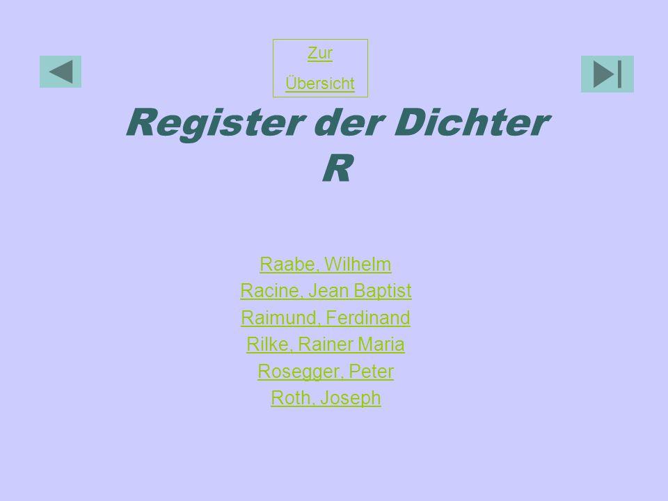 Register der Dichter R Raabe, Wilhelm Racine, Jean Baptist Raimund, Ferdinand Rilke, Rainer Maria Rosegger, Peter Roth, Joseph Zur Übersicht