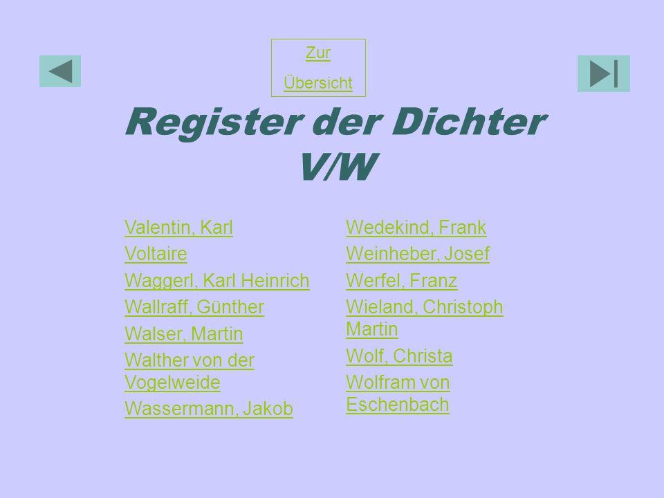 Register der Dichter V/W Zur Übersicht Valentin, Karl Voltaire Waggerl, Karl Heinrich Wallraff, Günther Walser, Martin Walther von der Vogelweide Wass