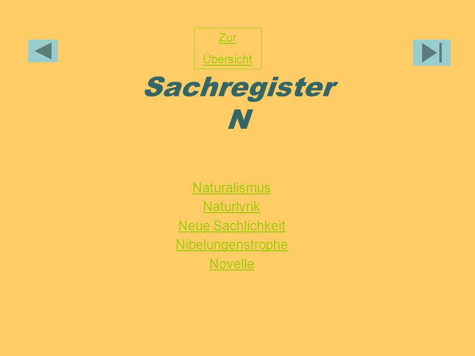 Sachregister N Naturalismus Naturlyrik Neue Sachlichkeit Nibelungenstrophe Novelle Zur Übersicht