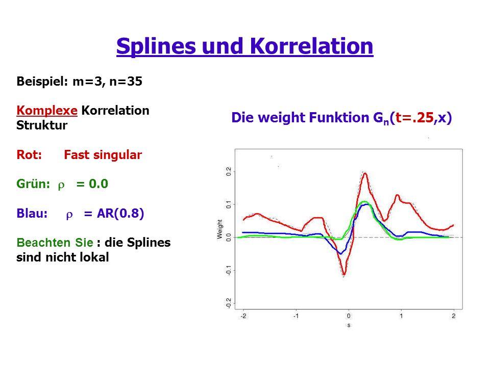 Splines und Korrelation Beispiel: m=3, n=35 Komplexe Korrelation Struktur Rot: Fast singular Grün: = 0.0 Blau: = AR(0.8) Beachten Sie : die Splines sind nicht lokal Die weight Funktion G n (t=.25,x)