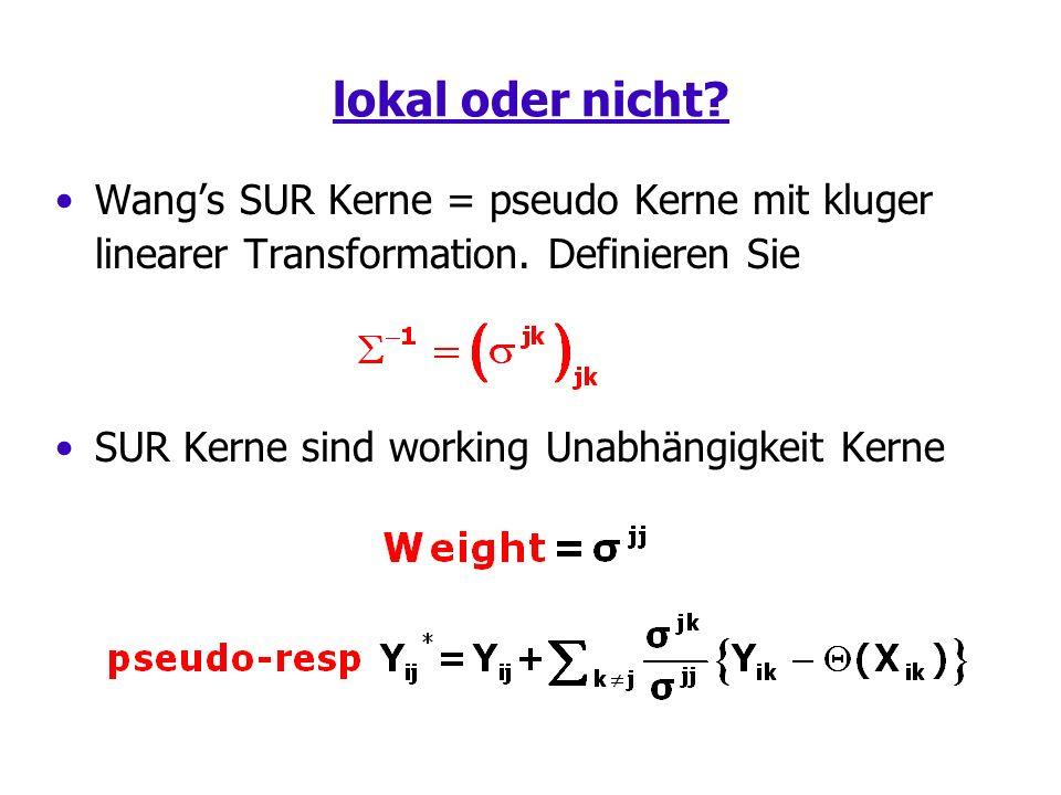 lokal oder nicht. Wangs SUR Kerne = pseudo Kerne mit kluger linearer Transformation.