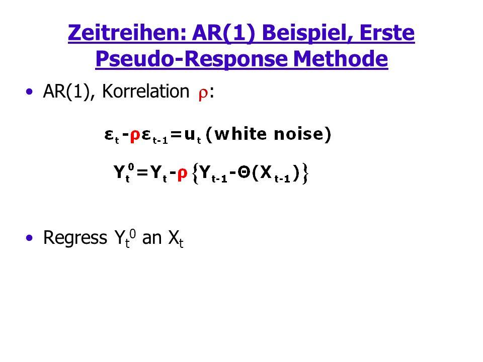 Zeitreihen: AR(1) Beispiel, Erste Pseudo-Response Methode AR(1), Korrelation : Regress Y t 0 an X t