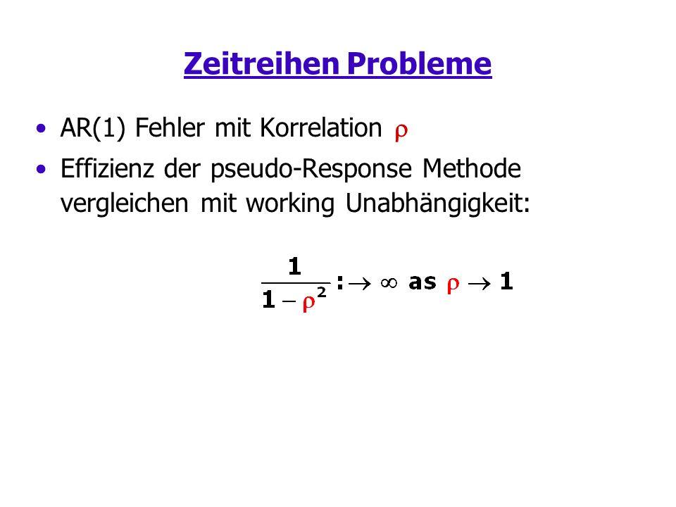 Zeitreihen Probleme AR(1) Fehler mit Korrelation Effizienz der pseudo-Response Methode vergleichen mit working Unabhängigkeit:
