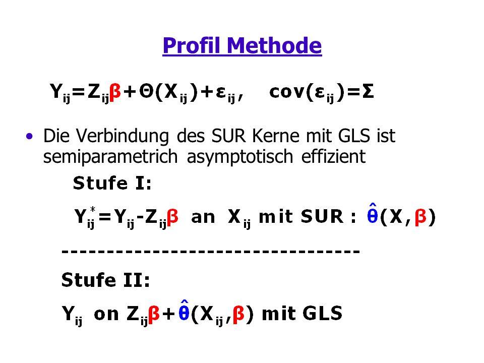 Profil Methode Die Verbindung des SUR Kerne mit GLS ist semiparametrich asymptotisch effizient