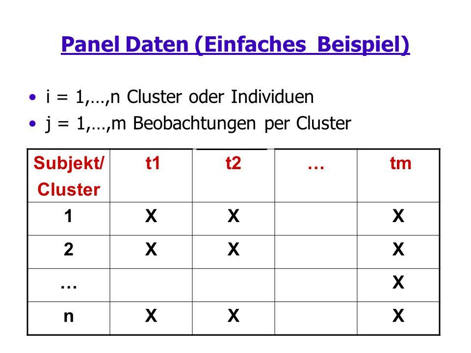 Panel Daten (Einfaches Beispiel) i = 1,…,n Cluster oder Individuen j = 1,…,m Beobachtungen per Cluster Subjekt/ Cluster t1t2… tm 1XXX 2XXX …X nXXX