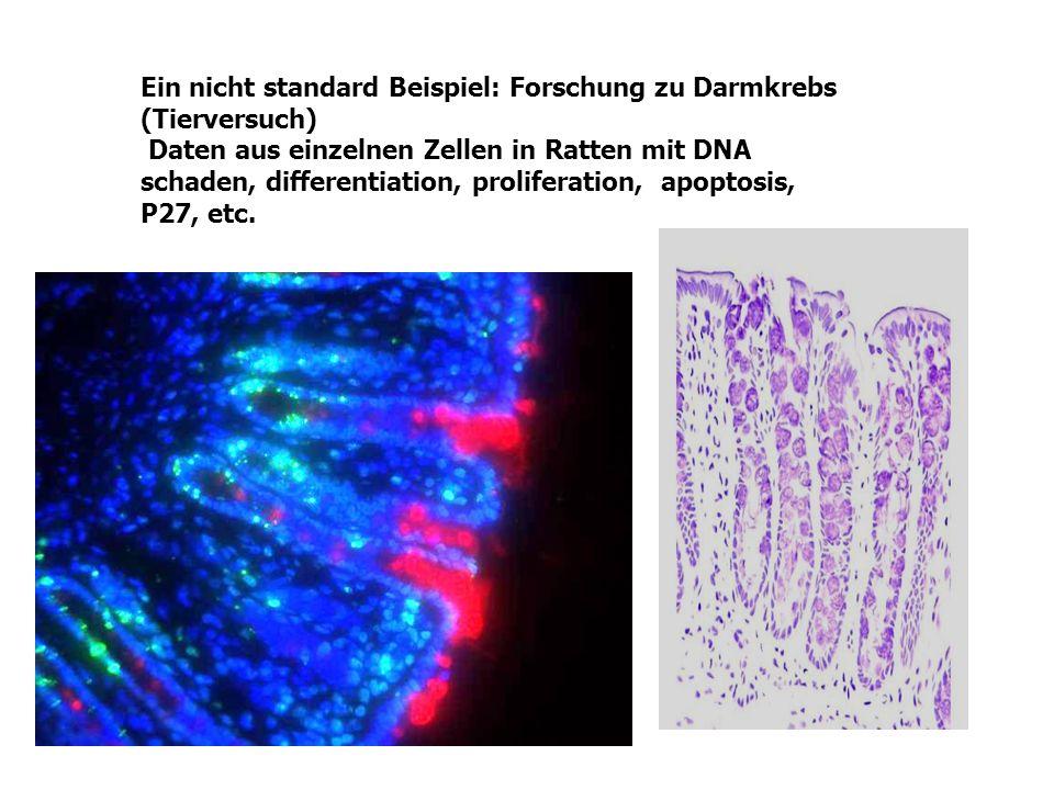Ein nicht standard Beispiel: Forschung zu Darmkrebs (Tierversuch) Daten aus einzelnen Zellen in Ratten mit DNA schaden, differentiation, proliferation, apoptosis, P27, etc.