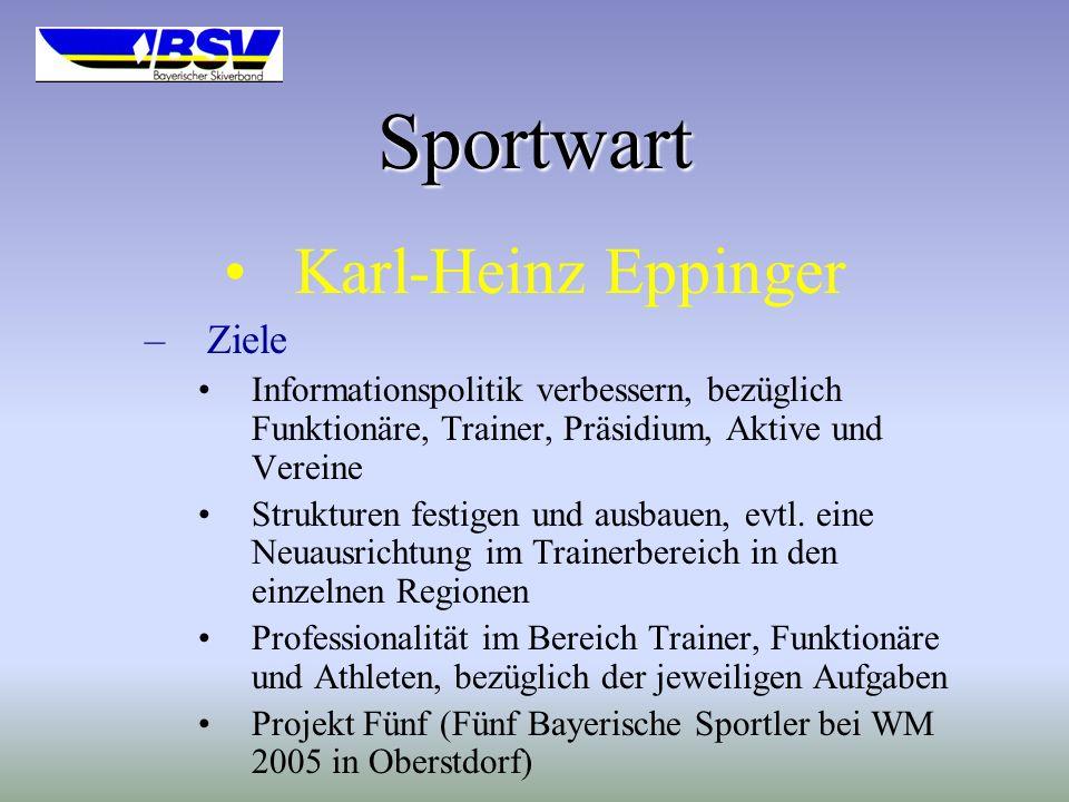 Sportwart Karl-Heinz Eppinger –Ziele Informationspolitik verbessern, bezüglich Funktionäre, Trainer, Präsidium, Aktive und Vereine Strukturen festigen und ausbauen, evtl.