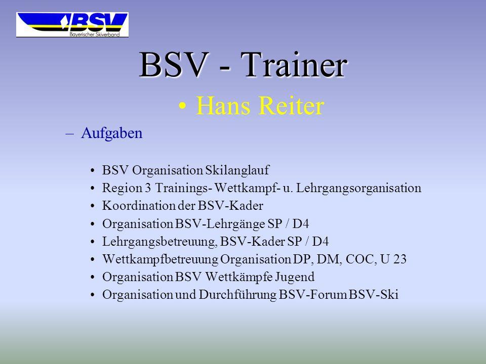 BSV - Trainer Hans Reiter –Aufgaben BSV Organisation Skilanglauf Region 3 Trainings- Wettkampf- u.