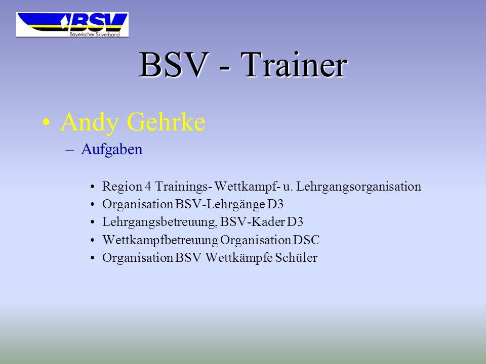BSV - Trainer Andy Gehrke –Aufgaben Region 4 Trainings- Wettkampf- u.