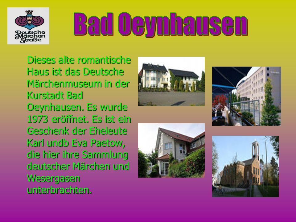 Dieses alte romantische Haus ist das Deutsche Märchenmuseum in der Kurstadt Bad Oeynhausen. Es wurde 1973 eröffnet. Es ist ein Geschenk der Eheleute K