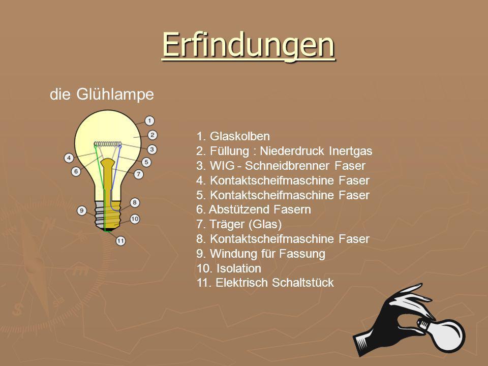Seinen Erfindungen und Patenten Stimmenzähler Kohlenwiderstandsregler Fonograf Kohlenmikrofon die Glühlampe die Elektromeßer die Elektomagnet die Dyna