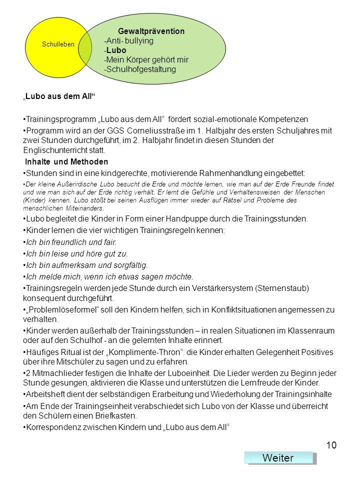 Lubo aus dem All Trainingsprogramm Lubo aus dem All fördert sozial-emotionale Kompetenzen Programm wird an der GGS Corneliusstraße im 1. Halbjahr des