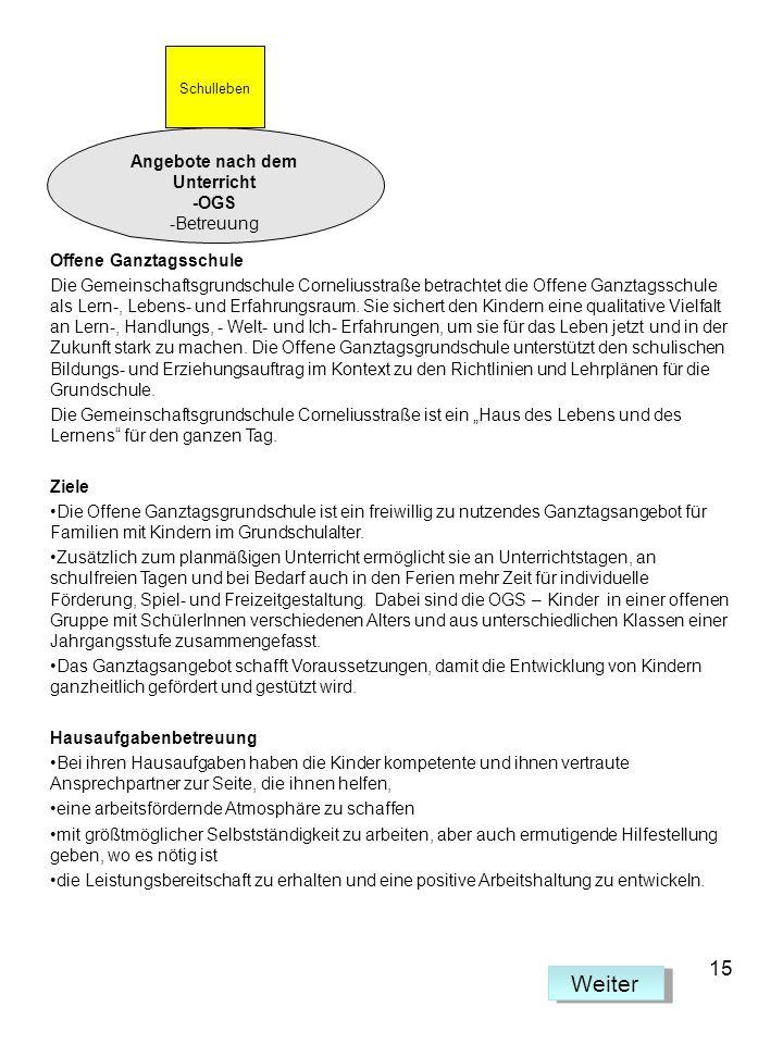 Offene Ganztagsschule Die Gemeinschaftsgrundschule Corneliusstraße betrachtet die Offene Ganztagsschule als Lern-, Lebens- und Erfahrungsraum. Sie sic