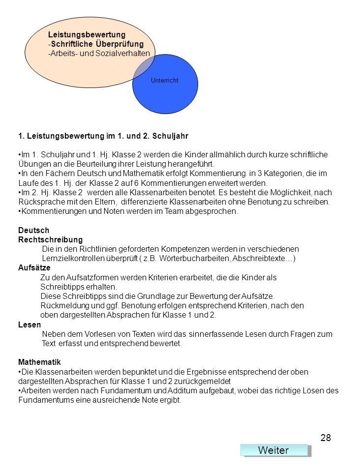 Leistungsbewertung -Schriftliche Überprüfung -Arbeits- und Sozialverhalten 1. Leistungsbewertung im 1. und 2. Schuljahr Im 1. Schuljahr und 1. Hj. Kla