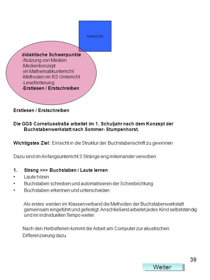 Erstlesen / Erstschreiben Die GGS Corneliusstraße arbeitet im 1. Schuljahr nach dem Konzept der Buchstabenwerkstatt nach Sommer- Stumpenhorst. Wichtig