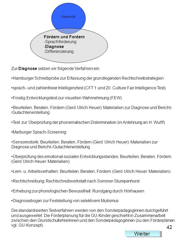 Unterricht Fördern und Fordern -Sprachförderung -Diagnose -Differenzierung Zur Diagnose setzen wir folgende Verfahren ein: Hamburger Schreibprobe zur