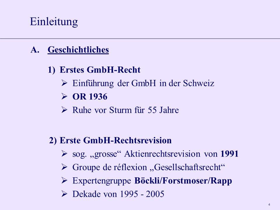 5 B.Hintergründe der Revision 1)Entwicklungen in der Schweiz Aktienrechtsrevision = mehr GmbH seit den 1990er Jahren Mängel des GmbH-Rechts Fokus auf personenbezogene Körperschaft 2) Internationale Entwicklungen.