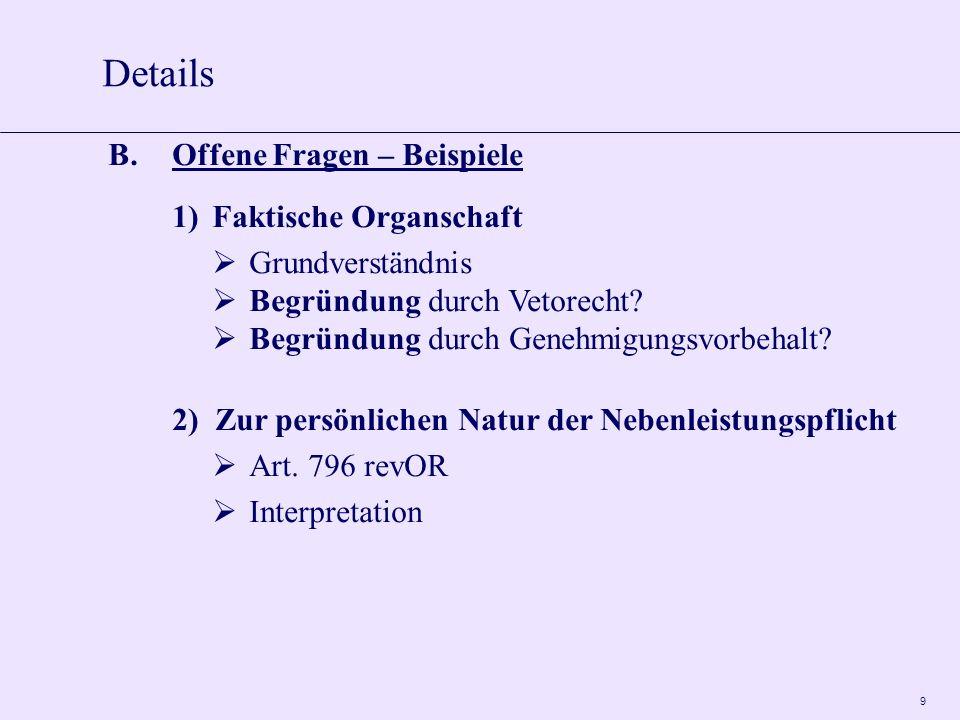 10 C.Zur Positionierung der GmbH in der Zukunft 1)Konkurrenz zu den AG Nachteil der AG: Aktienkapital ist teuer GmbH-Zahl dürfte weiter zunehmen (Mindestkapital von CHF 20000.-- bleibt unverändert) Umwandlungen durch FusG 2)Konkurrenz zu den Personengesellschaften Nachteil der PG: Gesellschafterhaftung bleibt GmbH-Zahl dürfte weiter zunehmen (Ausschluss der Haftung durch GmbH-Rechtsrevision) Umwandlungen durch FusG Details
