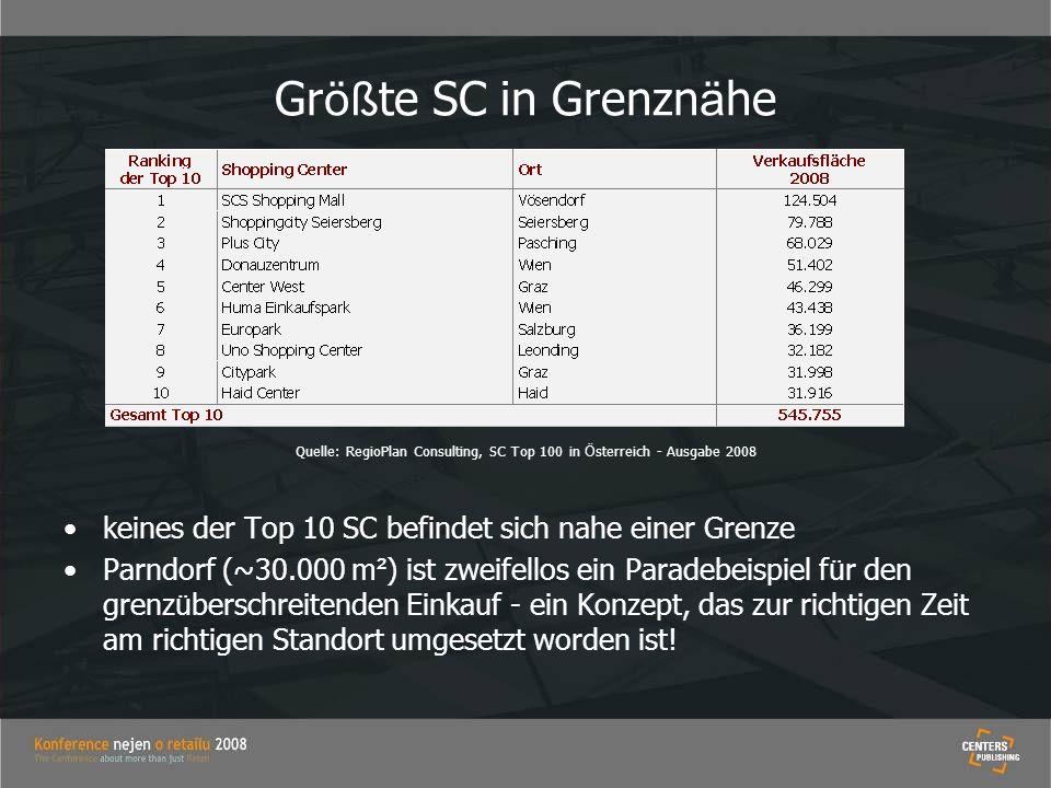 Gr öß te SC in Grenzn ä he Quelle: RegioPlan Consulting, SC Top 100 in Ö sterreich - Ausgabe 2008 keines der Top 10 SC befindet sich nahe einer Grenze