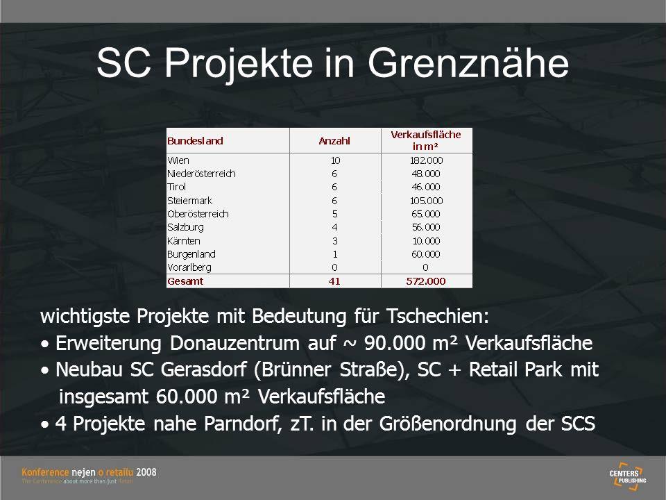 SC Projekte in Grenznähe wichtigste Projekte mit Bedeutung für Tschechien: Erweiterung Donauzentrum auf ~ 90.000 m² Verkaufsfläche Neubau SC Gerasdorf