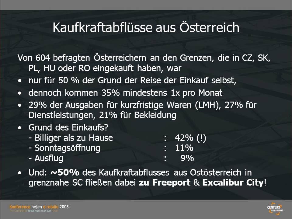 Kaufkraftabfl ü sse aus Ö sterreich Von 604 befragten Ö sterreichern an den Grenzen, die in CZ, SK, PL, HU oder RO eingekauft haben, war nur f ü r 50