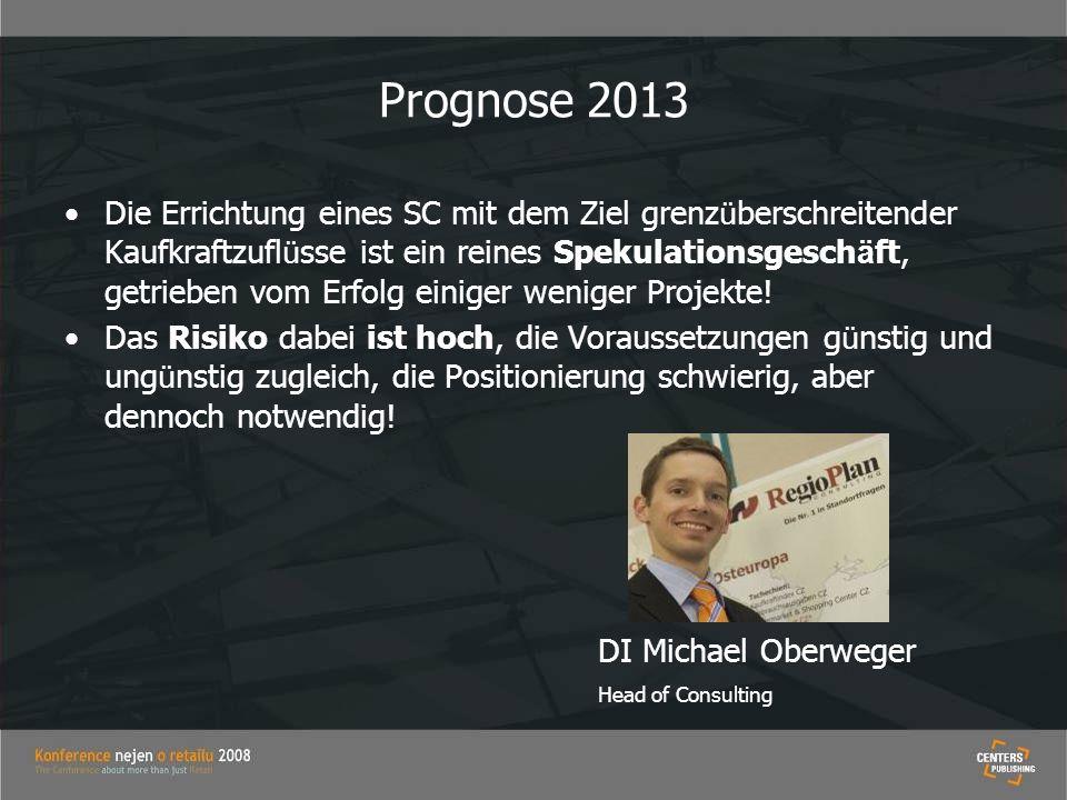 Prognose 2013 Die Errichtung eines SC mit dem Ziel grenz ü berschreitender Kaufkraftzufl ü sse ist ein reines Spekulationsgesch ä ft, getrieben vom Er