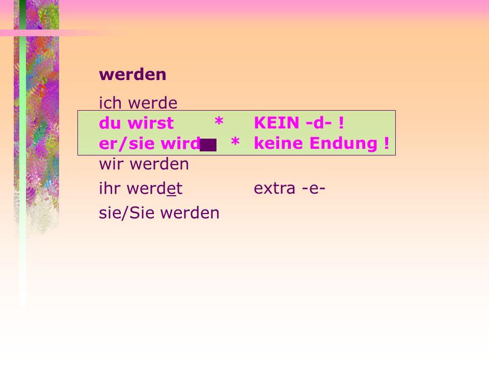 Gruppe II: e > ie sehen lesen fernsehen to see; watch to read to watch TV