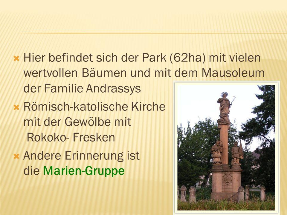 Hier befindet sich der Park (62ha) mit vielen wertvollen Bäumen und mit dem Mausoleum der Familie Andrassys Römisch-katolische Kirche mit der Gewölbe mit Rokoko- Fresken Andere Erinnerung ist die Marien-Gruppe