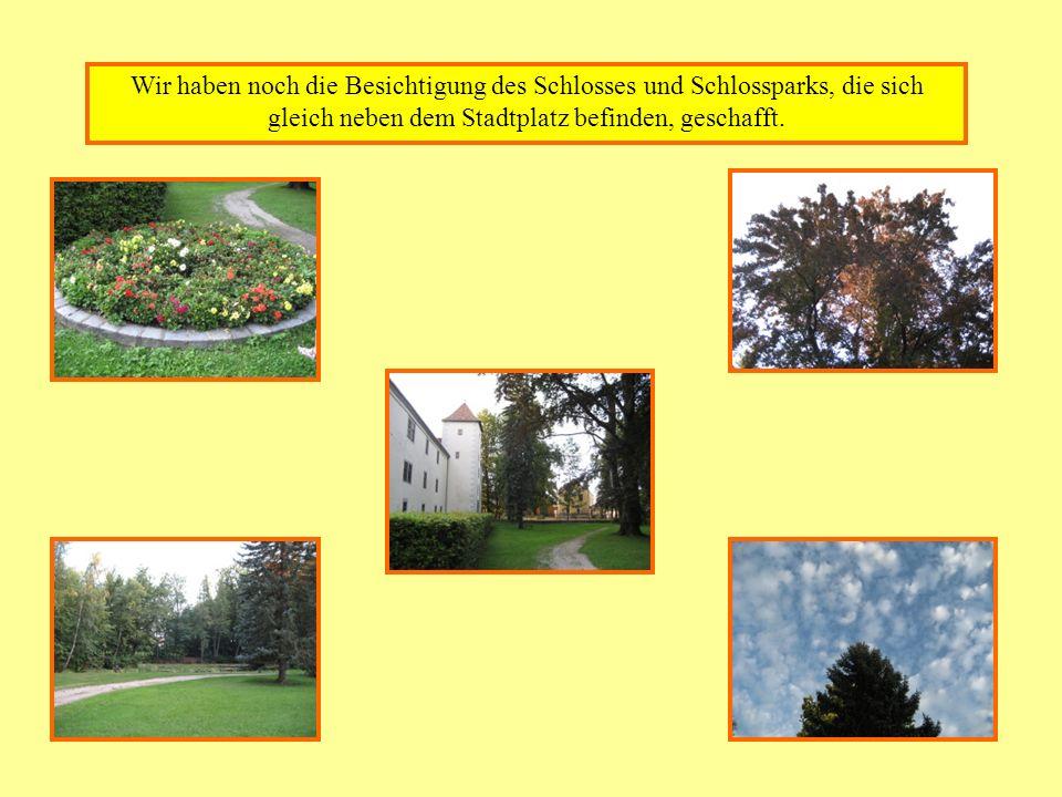 Wir haben noch die Besichtigung des Schlosses und Schlossparks, die sich gleich neben dem Stadtplatz befinden, geschafft.