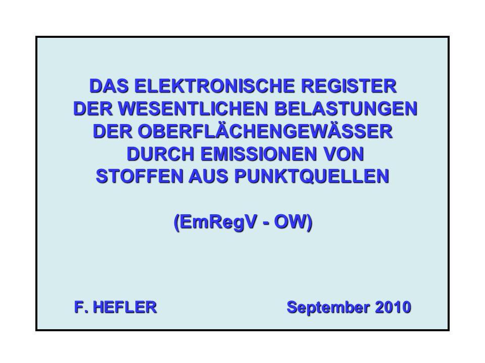 2 EmRegV - OW Zweck der Datensammlung -Erfüllung gemeinschaftsrechtlicher Berichtspflichten -RL 91/271/EWG (Kommunales Abwasser) -RL 2000/60/EG (WRRL) -RL 2000/76/EWG (Abfallverbrennung) -V (EG) Nr.