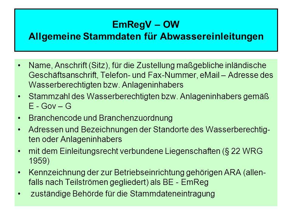 10 EmRegV – OW Allgemeine Stammdaten für Abwassereinleitungen Name, Anschrift (Sitz), für die Zustellung maßgebliche inländische Geschäftsanschrift, T
