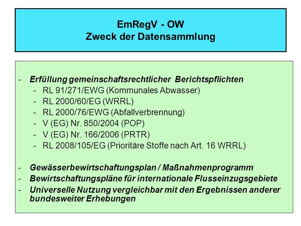 13 EmRegV - OW Datenlieferverpflichtungen Kommunale Anlagen nicht kleiner als 2 000 EW 60 aber nicht größer 10000 EW 60 –Stammdaten, Jahresfrachten für Bescheidparameter (Messung), Stoffangaben Kommunale Anlagen größer 10 000 EW 60 –Stammdaten, Jahresfrachten für Bescheidparameter und vom BMLFUW bezeichnete prioritäre Stoffe (Messung) sowie sonstige Stoffe nach Anhang A Tabelle 2 Spalte V EmRegV - OW (wenn maßgeblich – Rechnung/Schätzung), Stoffangaben Anlagen gemäß Art.