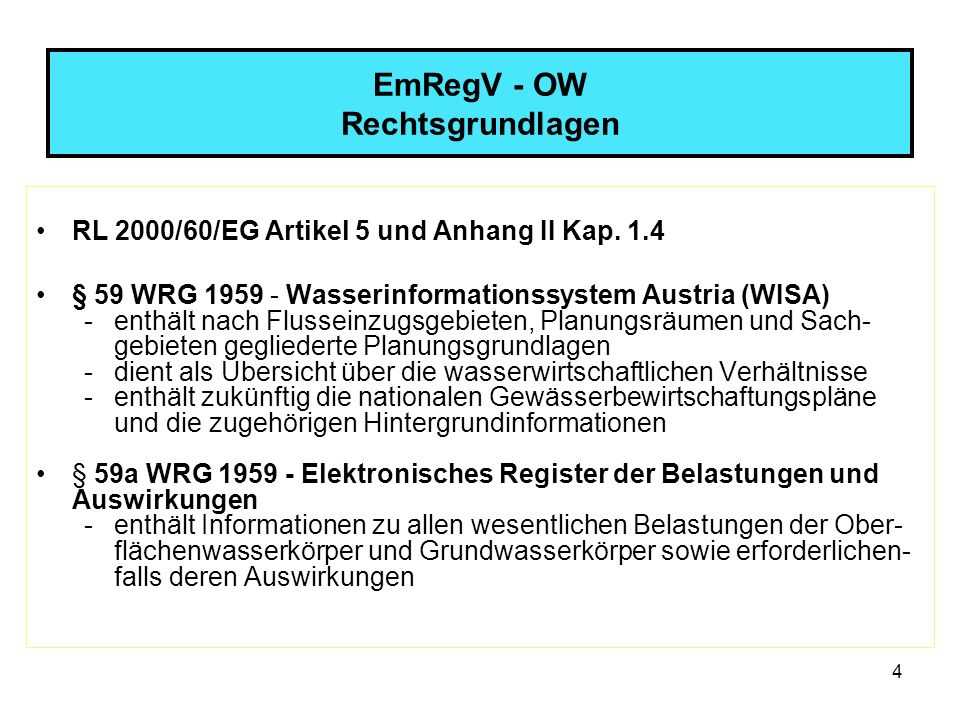 15 EmRegV - OW Datensammlung im ersten Berichtsjahr Veröffentlichung jener Daten im WISA, für die Berichts- pflichten bestehen (BMLFUW) 1.
