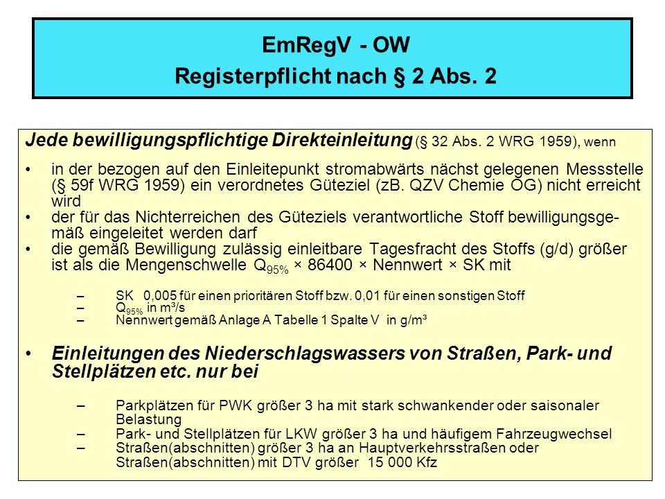 7 EmRegV - OW Registerpflicht nach § 2 Abs. 2 Jede bewilligungspflichtige Direkteinleitung (§ 32 Abs. 2 WRG 1959), wenn in der bezogen auf den Einleit