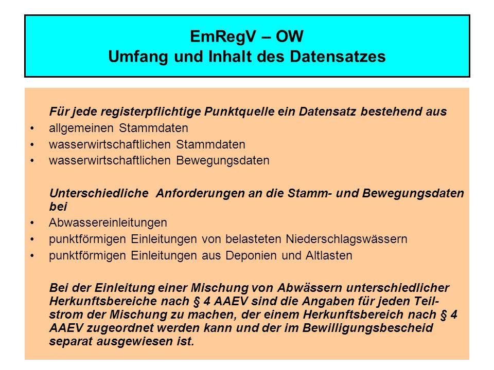 10 EmRegV – OW Allgemeine Stammdaten für Abwassereinleitungen Name, Anschrift (Sitz), für die Zustellung maßgebliche inländische Geschäftsanschrift, Telefon- und Fax-Nummer, eMail – Adresse des Wasserberechtigten bzw.