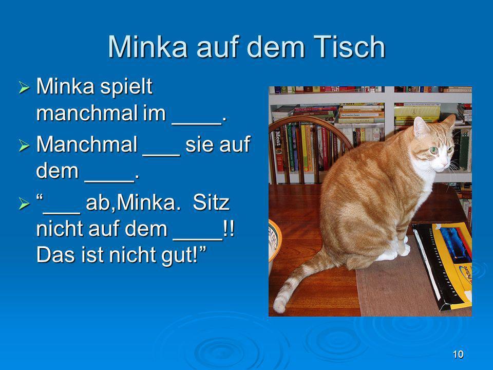Minka auf dem Tisch Minka spielt manchmal im ____. Minka spielt manchmal im ____. Manchmal ___ sie auf dem ____. Manchmal ___ sie auf dem ____. ___ ab