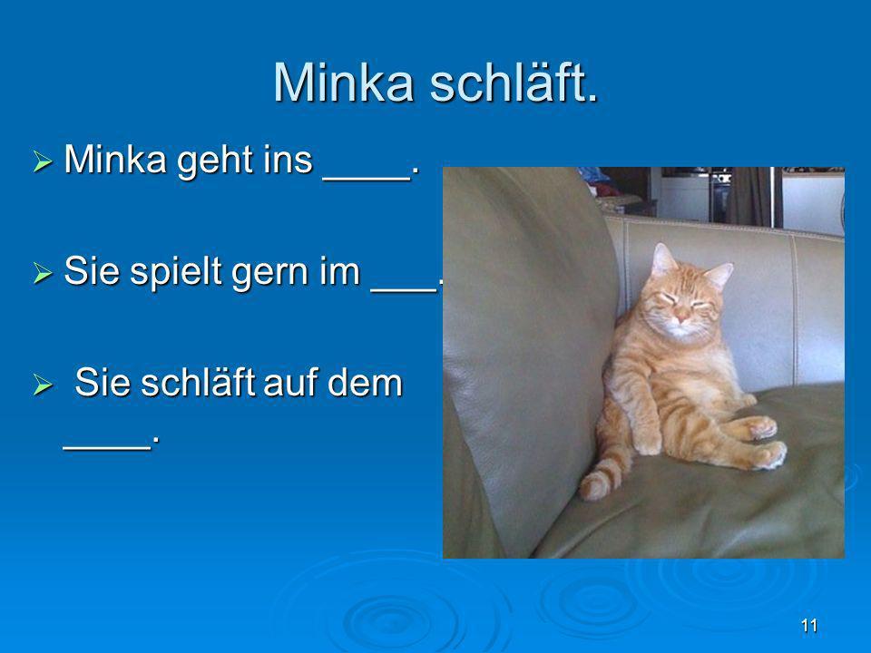 Minka schläft. Minka geht ins ____. Minka geht ins ____. Sie spielt gern im ___. Sie spielt gern im ___. Sie schläft auf dem ____. Sie schläft auf dem