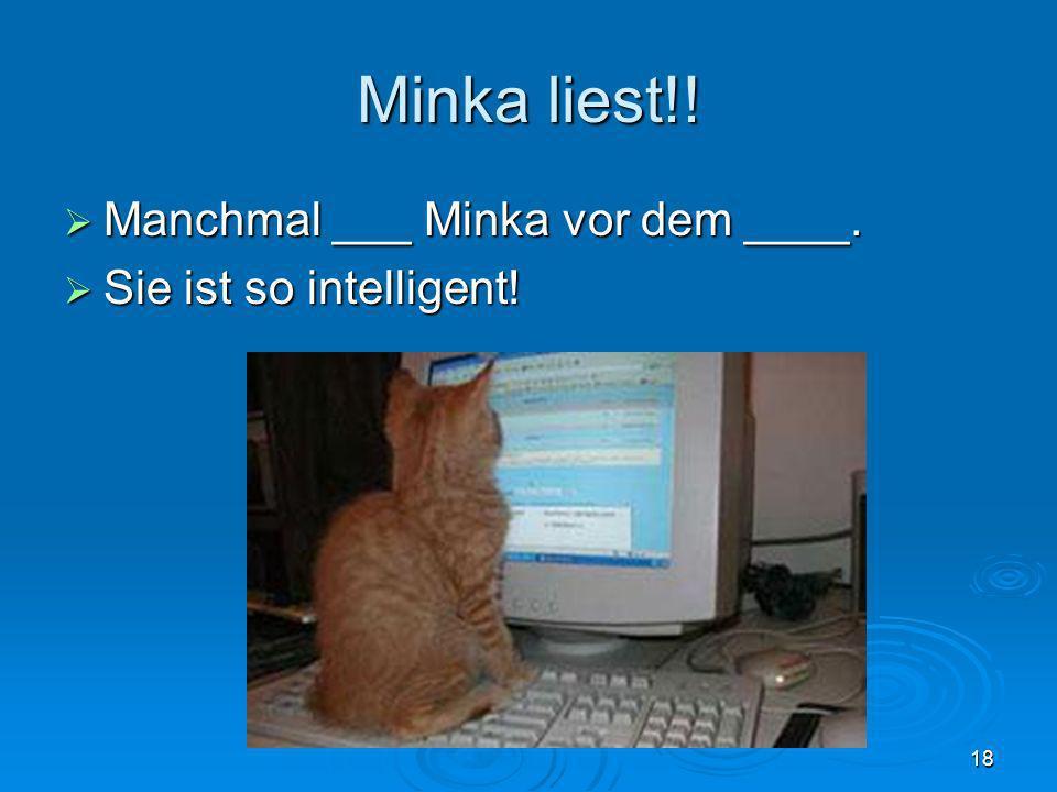 Minka liest!! Manchmal ___ Minka vor dem ____. Manchmal ___ Minka vor dem ____. Sie ist so intelligent! Sie ist so intelligent! 18