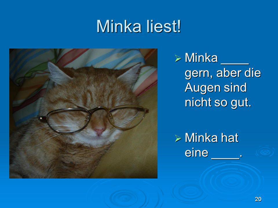 Minka liest! Minka ____ gern, aber die Augen sind nicht so gut. Minka ____ gern, aber die Augen sind nicht so gut. Minka hat eine ____. Minka hat eine