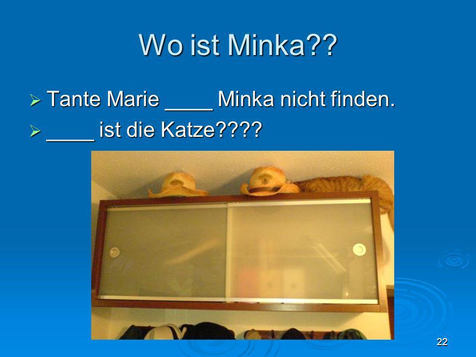 Wo ist Minka?? Tante Marie ____ Minka nicht finden. Tante Marie ____ Minka nicht finden. ____ ist die Katze???? ____ ist die Katze???? 22