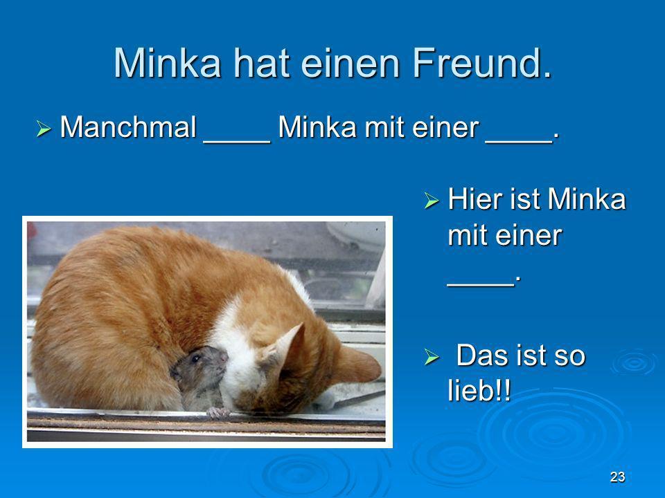 Minka hat einen Freund. Manchmal ____ Minka mit einer ____. Manchmal ____ Minka mit einer ____. 23 Hier ist Minka mit einer ____. Hier ist Minka mit e