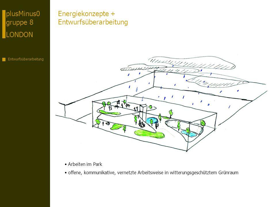 plusMinus0 gruppe 8 LONDON Entwurfsüberarbeitung Energiekonzepte + Entwurfsüberarbeitung Arbeiten im Park offene, kommunikative, vernetzte Arbeitsweise in witterungsgeschütztem Grünraum