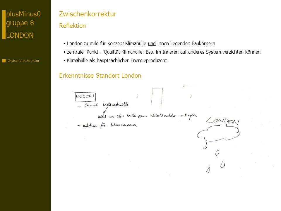 plusMinus0 gruppe 8 LONDON Zwischenkorrektur Reflektion London zu mild für Konzept Klimahülle und innen liegenden Baukörpern zentraler Punkt – Qualitä